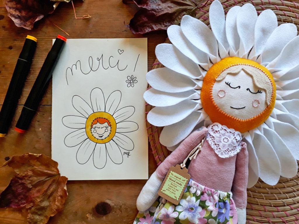 Carte de remerciement fait main jolie Marguerite