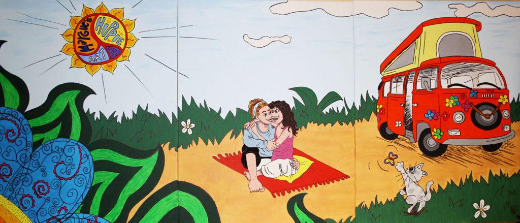 Illustration peinture hippie style