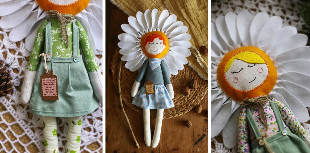 Poupées Marguerites Art textile