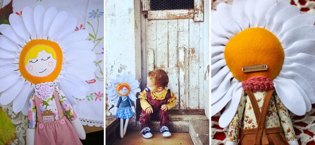 photographies des poupées Miss Marguerite de fabrication artisanale
