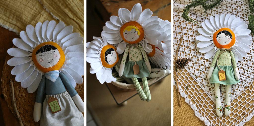 Photographies poupées marguerites fabrication artisanale